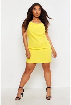 Geel yellow Plusmaat geweven slipdress met col