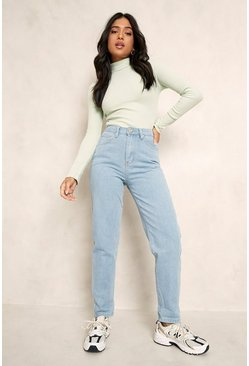 Light blue blue Petite High Rise Mom Jean