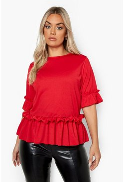 Red Plus Ruffle Sleeve and Hem Peplum Top