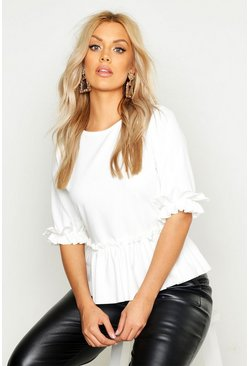 White Plus Ruffle Sleeve and Hem Peplum Top