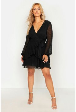 Black Plus Ruffle Hem Dobby Mesh Skater Dress