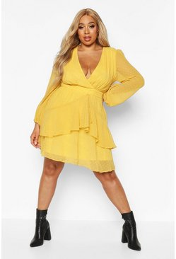 Mustard yellow Plus Ruffle Hem Dobby Mesh Skater Dress