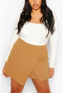 Camel beige Plus Cross Over Split Skort