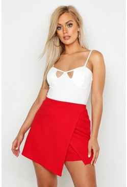Red Plus Cross Over Split Skort