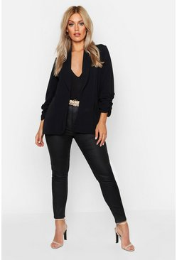 Black Plus Lapel Detail Ruched Sleeve Blazer