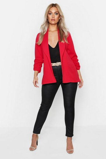 Red Plus Lapel Detail Ruched Sleeve Blazer