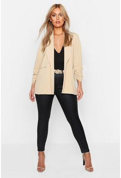 Stone beige Plus Lapel Detail Ruched Sleeve Blazer
