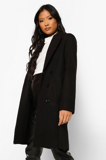 Black Petite Double Breasted Camel Duster Coat