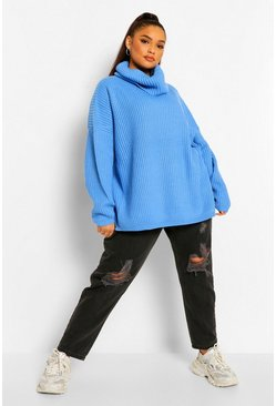 Blue Plus Rib Knit Wide Sleeve Turn Up Cuff Sweater