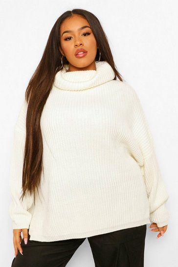 Ivory white Plus Rib Knit Wide Sleeve Turn Up Cuff Jumper