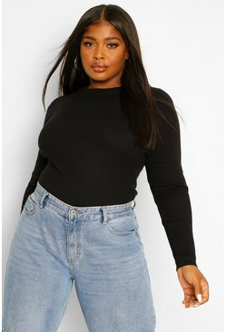 Black Plus Ribbed Turtle Neck Jumper