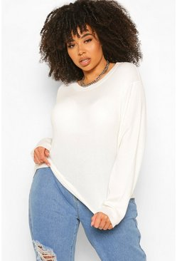 Ivory white Plus Ribbed Turtle Neck Jumper