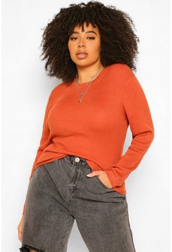 Terracotta orange Plus Ribbed Turtle Neck Jumper
