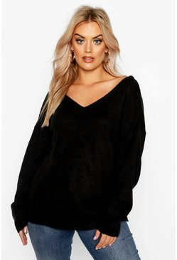 Black Plus Jumper With V Neck Detail Front And Back