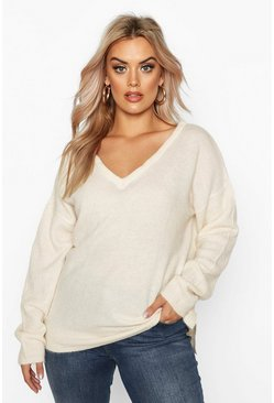 Ivory white Plus Jumper With V Neck Detail Front And Back