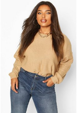 Camel beige Plus Boxy Scoop Neck Jumper
