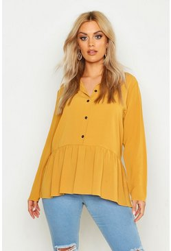 Mustard yellow Plus Peplum Hem Shirt