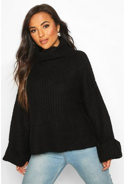 Black Petite Rib Knit Wide Sleeve Turn Up Cuff Jumper