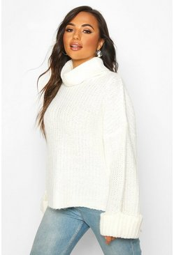 Ivory Petite Rib Knit Wide Sleeve Turn Up Cuff Jumper