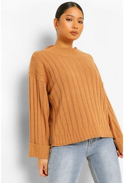 Tan brown Petite Rib Knit Wide Sleeve Turn Up Cuff Jumper