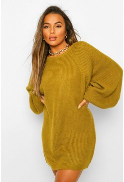 Olive Petite Crew Neck Fisherman Rib Jumper Dress