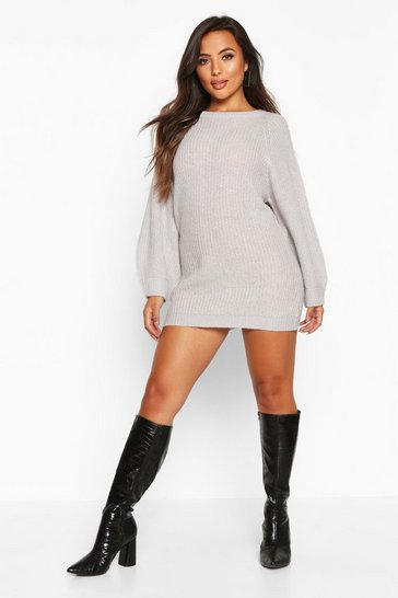 Silver grey grey Petite Crew Neck Fisherman Rib Jumper Dress