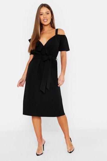 Black Petite Plunge Ruffle Belt Midi Dress
