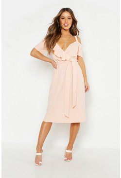 Blush Petite Plunge Ruffle Belt Midi Dress
