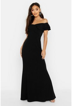 Black Petite Off The Shoulder Frill Fish Tail Maxi Dress