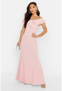 Soft pink pink Petite Off The Shoulder Frill Fish Tail Maxi Dress