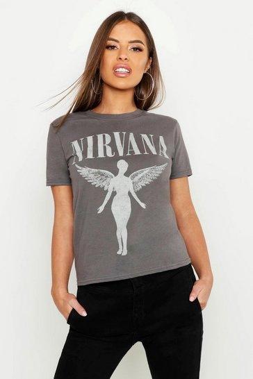 Grey Petite Nirvana Licensed T-Shirt