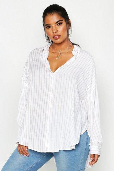 Beige Plus Oversized Split Side Shirt