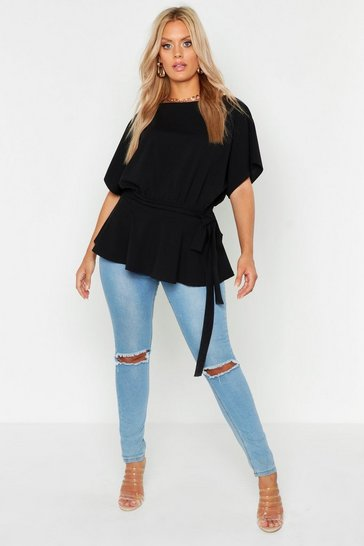 Black Plus Slash Neck Tie Waist Peplum Hem Top
