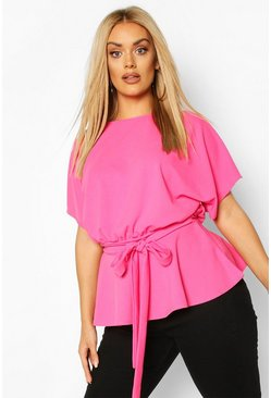 Hot pink pink Plus Slash Neck Tie Waist Peplum Hem Top