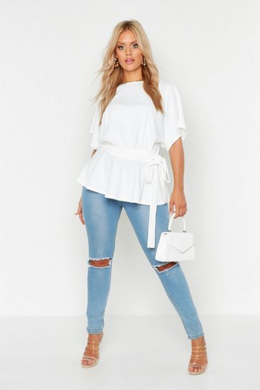 Ivory white White Plus Slash Neck Tie Waist Peplum Hem Top