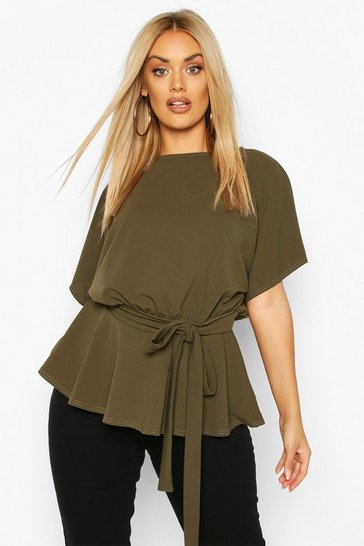 Khaki Plus Slash Neck Tie Waist Peplum Hem Top