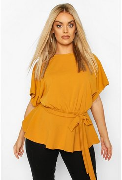 Mustard yellow Plus Slash Neck Tie Waist Peplum Hem Top