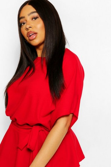 Red Plus Slash Neck Tie Waist Peplum Hem Top
