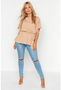 Stone Plus Slash Neck Tie Waist Peplum Hem Top