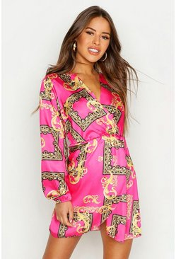 Pink Petite Wrap Chain Print Dress