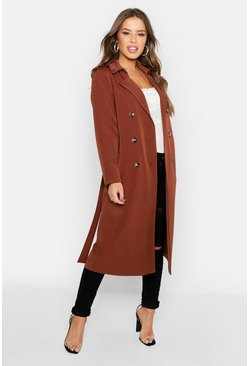 Camel beige Petite Utility Button Detail Trench Coat