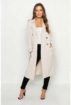 Stone beige Petite Utility Button Detail Trench Coat