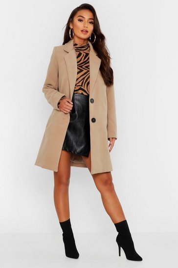 Petite Button Detail Camel Duster Coat