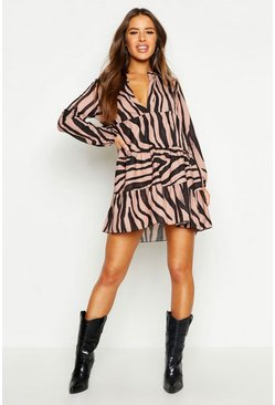 Tan brown Petite Tiger Print Smock Dress