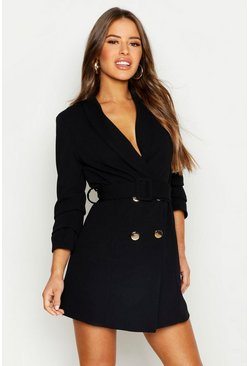 Black Petite Self Belt Button Blazer Dress