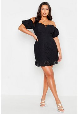 Black Plus Broderie Bodice Ruffle Hem Dress