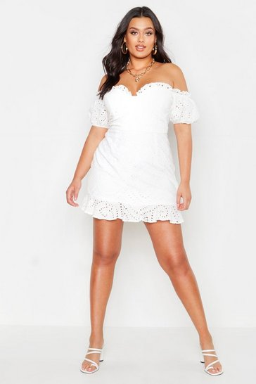White Plus Broderie Bodice Ruffle Hem Dress