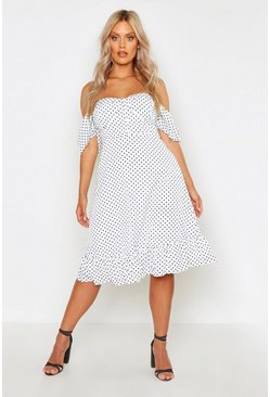 Plus Off The Shoulder Sweetheart Skater Dress, Ivory