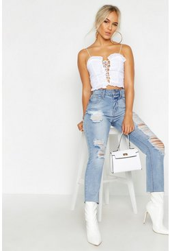 Ivory white Petite Broderie Anglaise Sweet Heart Crop Top
