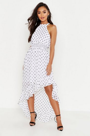 White Petite Polka Dot High Neck Shirred Waist Maxi Dress